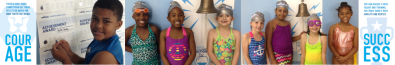 Students by the SwimRVA Bell of Success